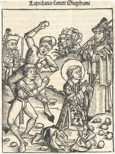 Die Steinigung des Hl. Stephan. Aus Hartmann Schedel's lateinischer Ausgabe der Weltchronik ausgeschnitten