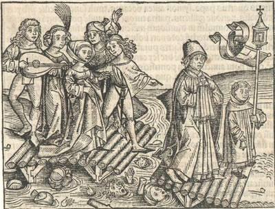 Tanzende und musizierende Paare, Illustration aus Hartman Schedel's Chronik, lat. Ausgabe, Nürnberg 1493, Holzschnitte