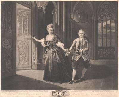 """Garrick und Mrs. Pritchard in """"Macbeth"""", II Akt, Szene III. Ganze Figuren, herausgegeben von J. Boydell, nach Johann Zoffany"""