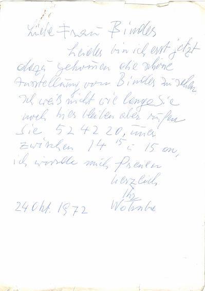 Brief von Fritz Wotruba