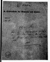 Image from object titled Patent des Mechanikers Karl Katzenschwanz in Um auf eine Gaslampe zum Brennen von flüchtigen Leuchtstoffen, Aktendeckel