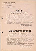 "Image from object titled ""Bekanntmachung! In Anwendung des Gesetze Nr. 52"", Gouvernement Militaire Konstanz"
