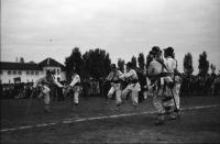 Image from object titled Craiova: Tanzgruppe, drei Calusari mit Stöcken