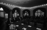 Image from object titled Freiburg: Rathaus; Amtseinführung von Regierungsbaurat Heinrich Doll, Leiter des Sonderbauamts Freiburg; Gruppe: Staatsrat Dichtel, Minister Frank, Oberbürgermeister mit Aula