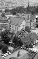 Image from object titled Lörrach: Blick vom Hochhaus auf Stadtkirche