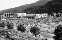 Image from object titled Freiburg: Großveranstaltung auf dem Messplatz, von oben