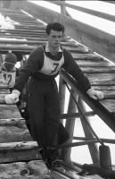 Image from object titled Feldberg: Internationales Skispringen; Mario Gianoli (Schweiz) am Sprungturm