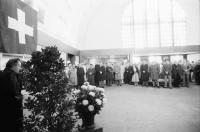 Image from object titled Basel (Schweiz): Festansprache DB Präsident Bubel in der Vorhalle des Badischen Bahnhofs