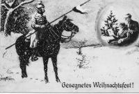 """Image from object titled """"Gesegnetes Weihnachtsfest"""" Zeichnung eines im Schnee reitenden Soldaten, der seiner Angehörigen in der Heimat gedenkt Karte aus Bischweiler [Bischwiller] an Babette Müller, Ellerstadt"""