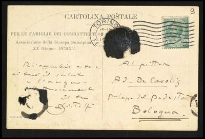 Cartolina inviata da Bistolfi a De Carolis