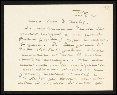 Lettera di Bistolfi a De Carolis