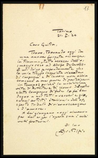 Lettera di Bistolfi