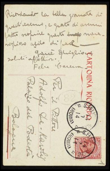 Cartolina inviata da Carena a De Carolis