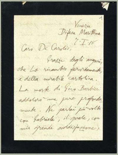 Lettera di Del Vecchio a De Carolis