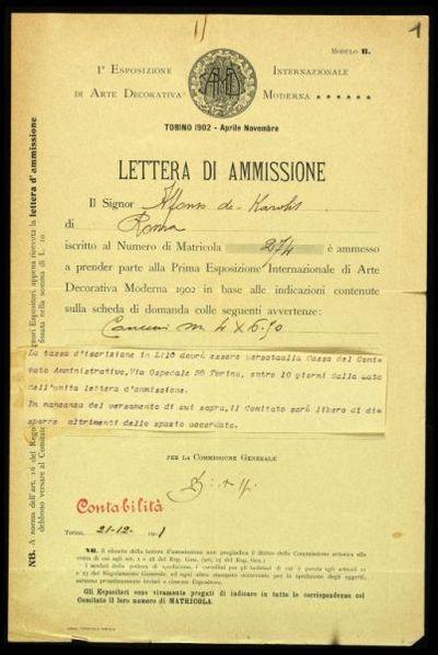 Lettera Bistolfi a De Carolis  Esposizione Torino  Prima esposizione di arte decorativa moderna