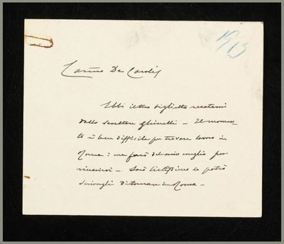 Lettera di E. Ferrari a De Carolis