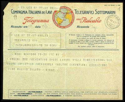 Telegramma inviato da Gigli a De Carolis