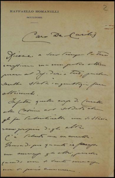 Lettera di Romanelli a De Carolis