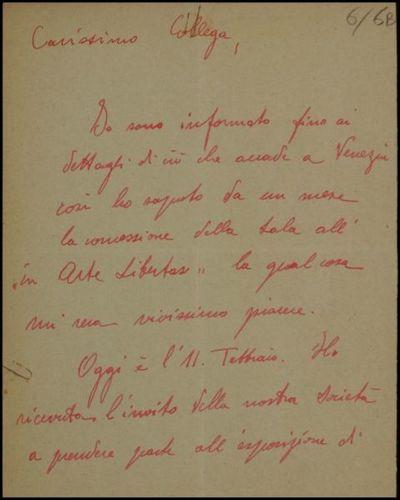 Lettera di Sartorio a De Carolis