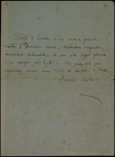 Documento manoscritto di Giulio Aristide Sartorio