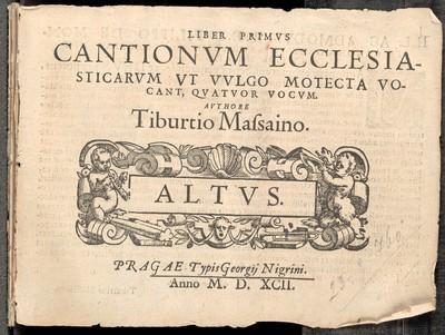 Image from object titled Cantionum ecclesiasticarum ut vulgo motecta vocant, quatuor vocum. Liber primus. Altus.