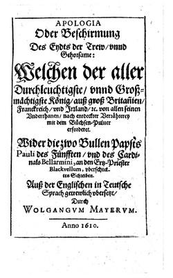 Image from object titled Apologia Oder Beschirmung Des Eydts der Trew und Gehorsame