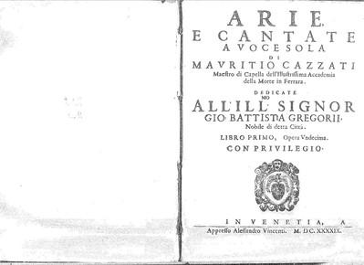 Image from object titled Arie, e cantate a voce sola di [...] Libro primo, opera undecima [...]