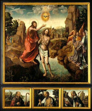 Antigo retábulo da capela lateral esquerda da Sé de Viseu, dedicada a S. João Baptista. No painel de grandes dimensões representa-se a cena do Baptismo de Cristo no rio Jordão, enquanto na predela tripartida figuram S....