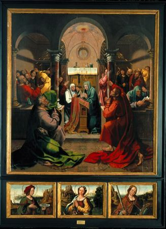 Antigo retábulo da capela da confraria do Espírito Santo da Sé de Viseu, situada no topo Norte do transepto. No painel maior representa-se a cena da Descida do Espírito Santo. Na predela figuram os bustos de Santa Luzia,...