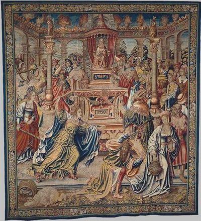O pano exibe o episódio do ataque ao Templo da Deusa Latona, protagonizado pela rainha Níobe e suas filhas após a morte dos filhos varões de Níobe às mãos da deusa. Ao centro, aparece a Deusa entronizada. Dos lados, sobre...