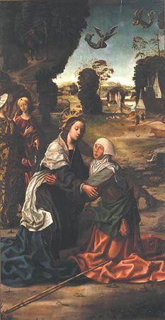 Representação do encontro bíblico de Nossa Senhora e Santa Isabel, sua prima.  As figuras bem estruturadas e envoltas em largos panejamentos dominam o primeiro plano desta cena que se prolonga por uma magnífica paisagem de...