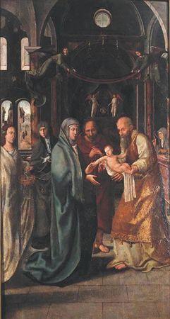 Figuram nesta pintura, no interior de uma capela com características renascentistas, a Virgem, São José e o velho Simão com o Menino sobre os braços e duas mulheres jovens, colocadas à esquerda, uma das quais segura uma...