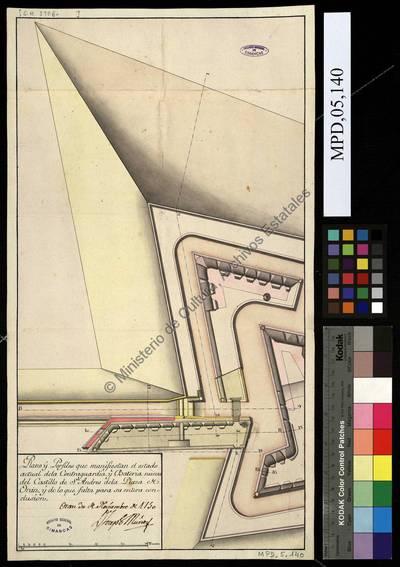 Plano y perfiles de la contraguardia y batería nueva del Castillo de San Andrés de Orán y de lo que falta para su conclusión [Material gráfico no proyectable]