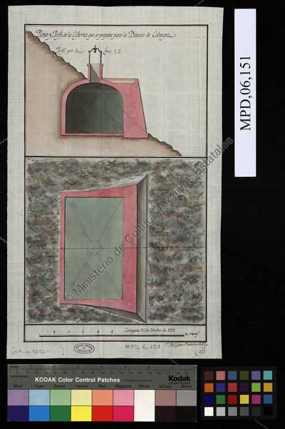Plano y Perfil de la Cisterna que se propone para la Batería de Calnegre [Material gráfico no proyectable]