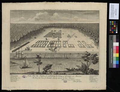 A view of Savannah as it stood the 29th of March 1734. Jo Hon[nora]ble the trusteed for establishing the Colony of Georgia in America this view of the Town of Savannah is humbly dedicated by their Honours. Obliged and most...