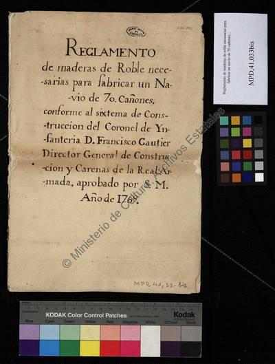 Image from object titled Reglamento de maderas de roble necesarias para fabricar un navío de 70 cañones... [Manuscrito]