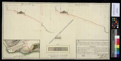Plano de una porción de el Castillo de Rosalcazar en el que se demuestra el Terreno donde se propone construir dos Almazenes de Pólvora sencillos... [Material cartográfico]
