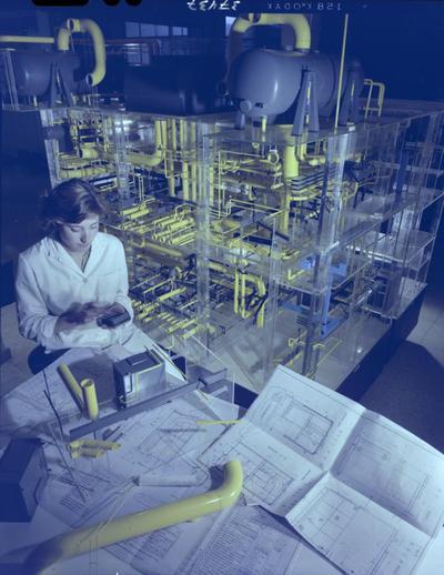 Image from object titled [Técnicos trabajando en la] Maqueta de la central nuclear de Valdecaballeros