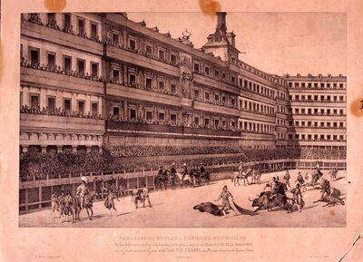 Caballeros en la paza poniendo rejoncillos Corrida de toros en la Plaza Mayor con motivo de la Jura de Isabel II como heredera.
