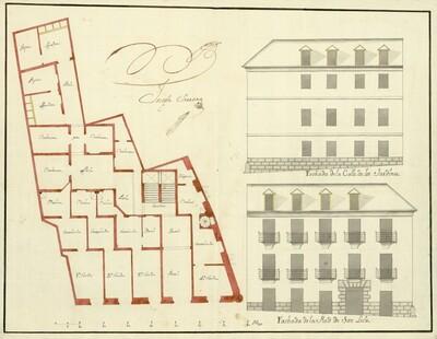 Planta y alzados de las casas de Don Juan de Novales