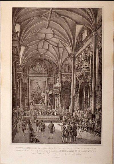 Vista del interior de la iglesia de real monasterio de San Jerónimo de esta corte durante el acto de la Jura de S.A.R.. la Srma. Señora Princesa D. maría Isabel Luisa de Borbón.