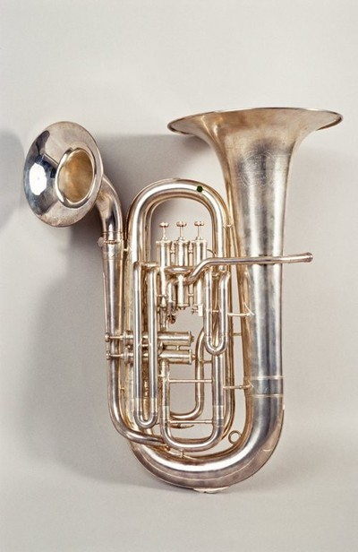 Image from object titled Double-belled euphonium. Nominal pitch: B?.; Double-belled euphonium.