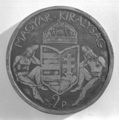 2 pengős pénzminta. Magyar Királyság