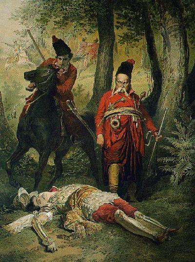 Illusztráció Gogol: Tárász Bulyba c. művéhez. Tárász Bulyba, aki megölte Andrejt.