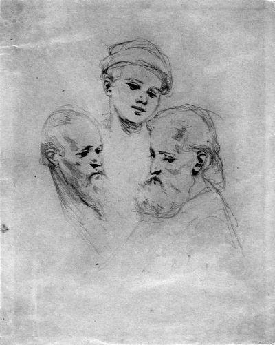 Három fej vázlatos képe.