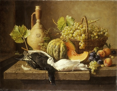Natüürmort puuviljade ja lastud lindudega