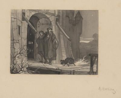 Faust und Wagner erreichen nach dem Osterspaziergang das Stadttor. Entwurf zu einer Illustration zu Faust I