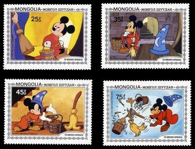 """Set von 6 Briefmarken mit Szenen zu Goethes """"Zauberlehrling"""" nach dem Film """"Fantasia"""" von Walt Disney"""