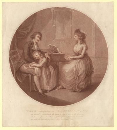 """""""Werter contemplating on Charlotte's wedding ring"""". Werther und Lotte am Klavier"""