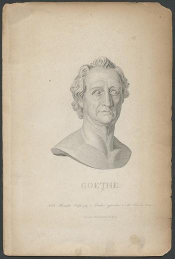 """""""Goethe. Nach Rauchs Büste gezeichnet"""" Porträtbüste Goethes"""